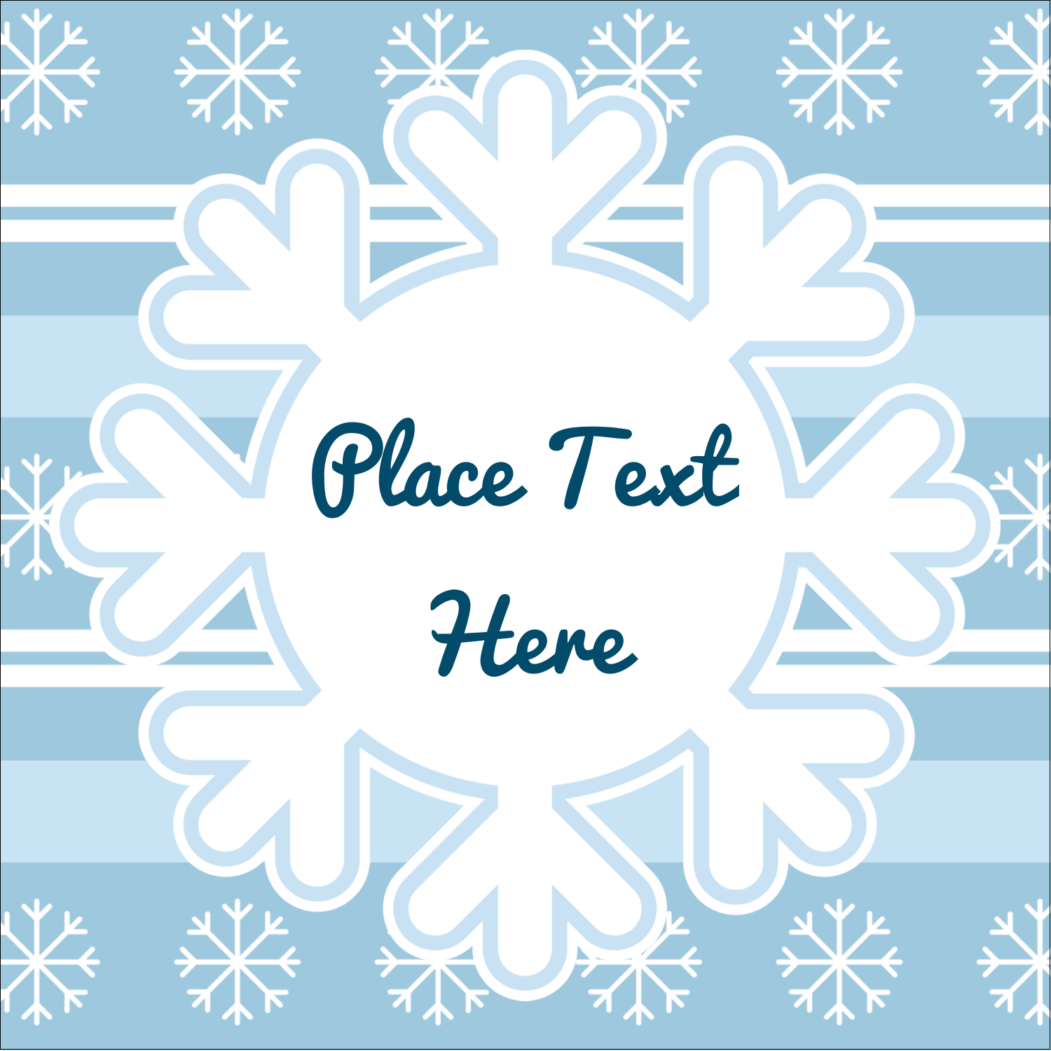 "2"" x 2"" Square Label - Blue Snowflake"