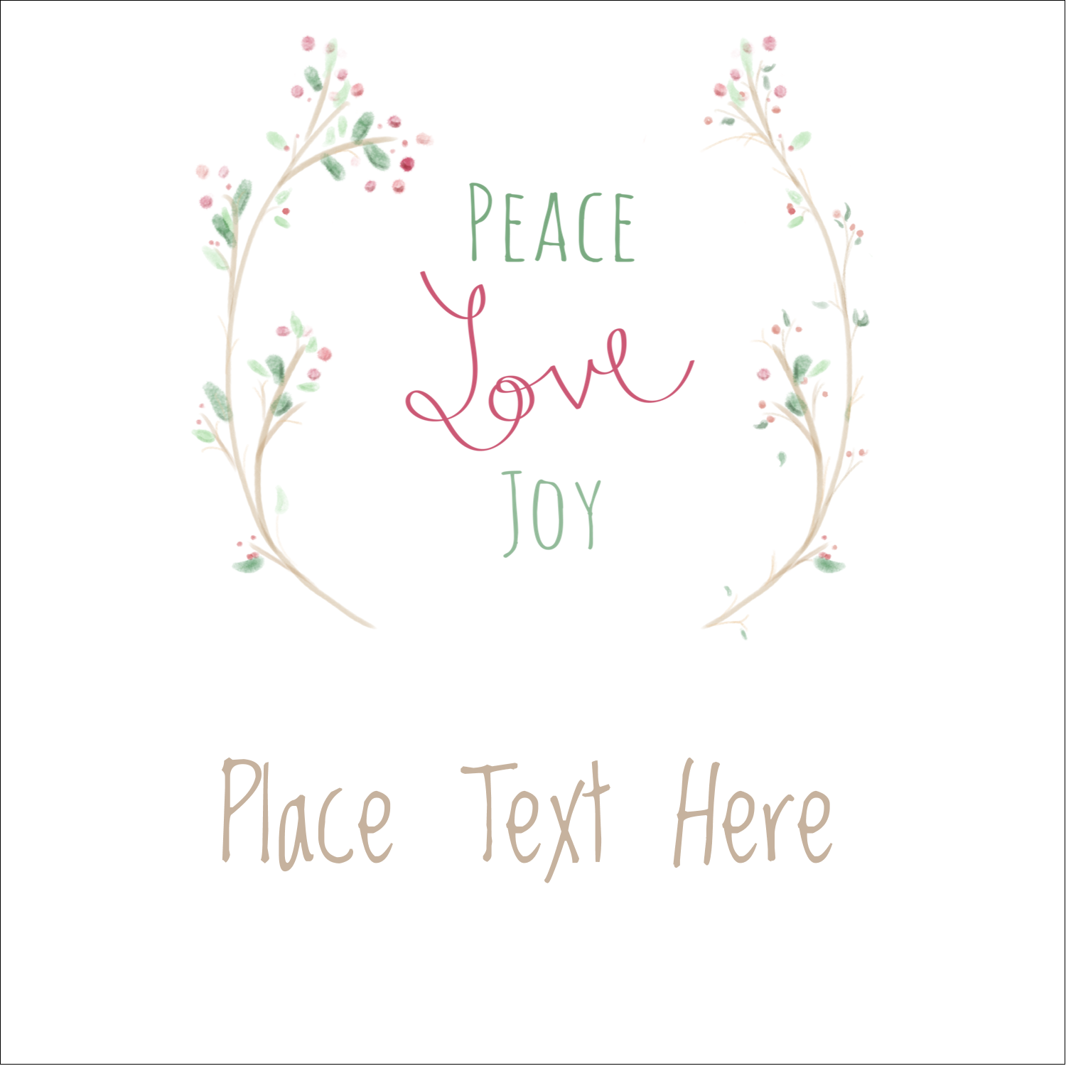 "2"" x 2"" Square Label - Peace Love Joy"
