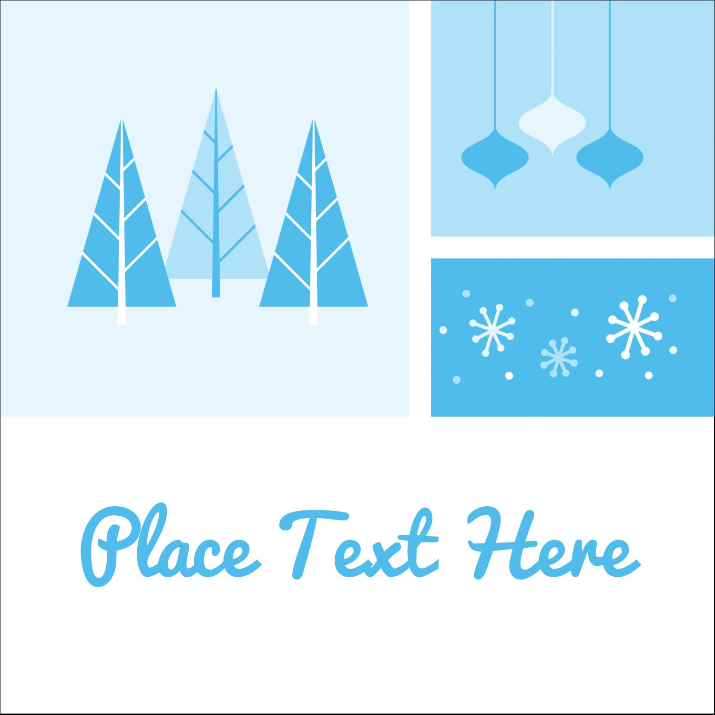 "1½"" x 1½"" Square Label - Retro Winter Wonderland"