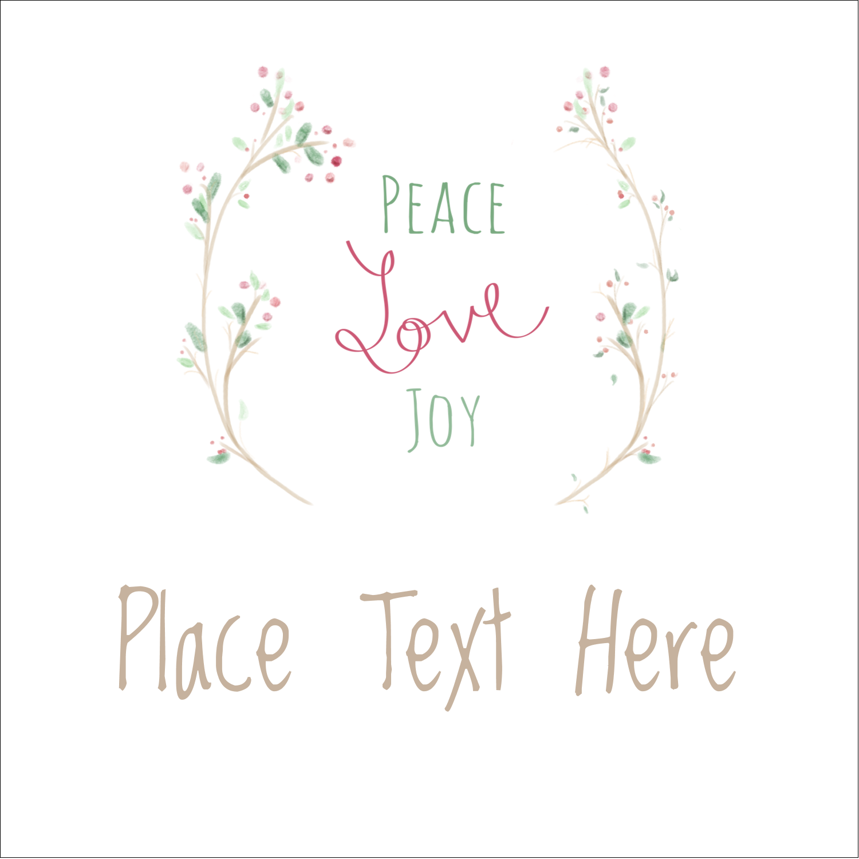 "1½"" x 1½"" Square Label - Peace Love Joy"