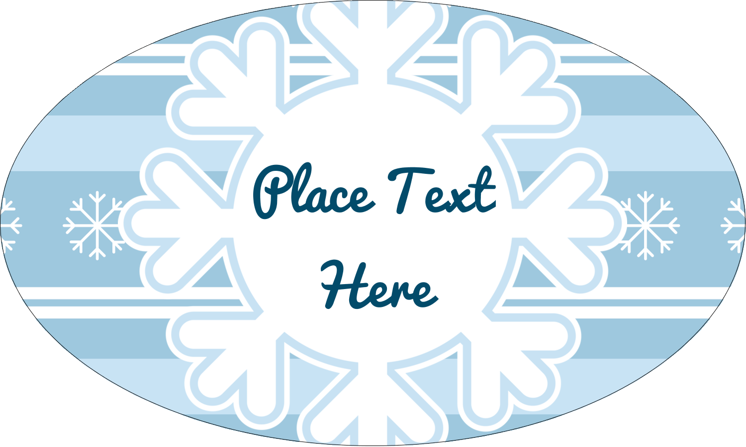 """1½"""" x 2½"""" Oval Glossy Label - Blue Snowflake"""