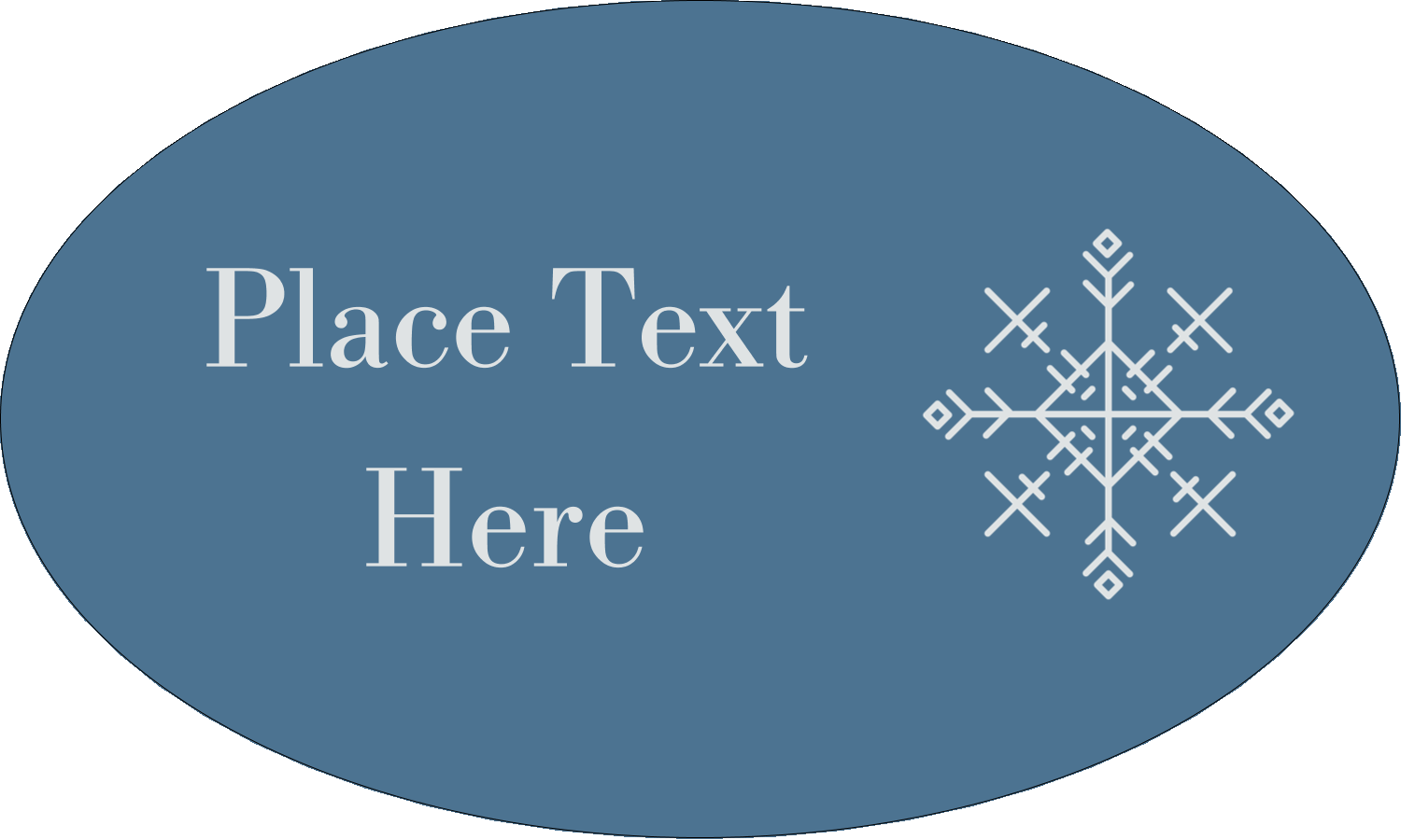 """1½"""" x 2½"""" Oval Glossy Label - Snowflakes"""