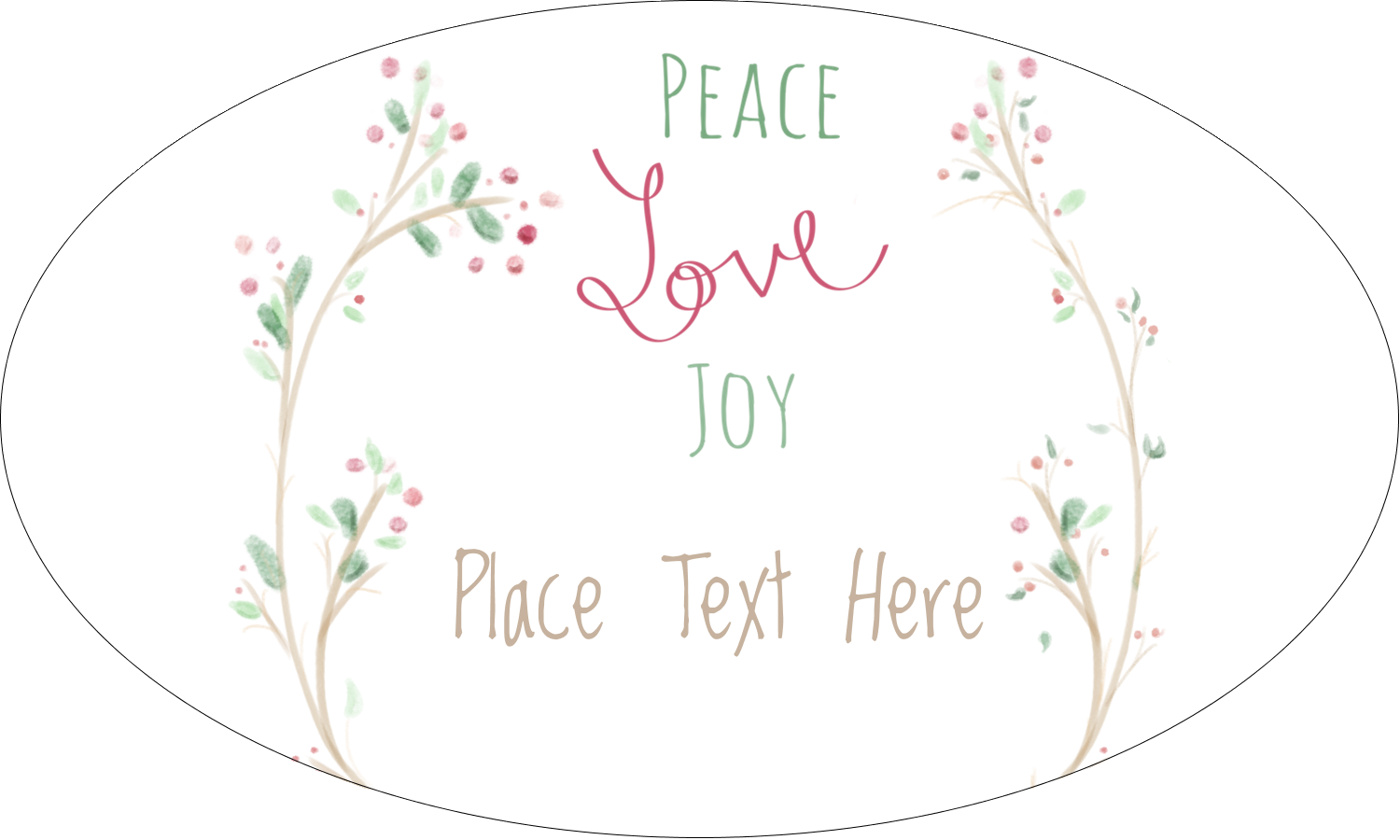 "1½"" x 2½"" Oval Glossy Label - Peace Love Joy"