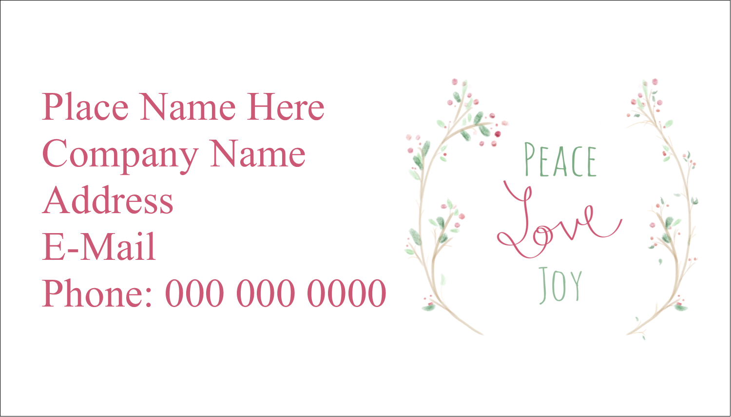 "2"" x 3½"" Business Card - Peace Love Joy"