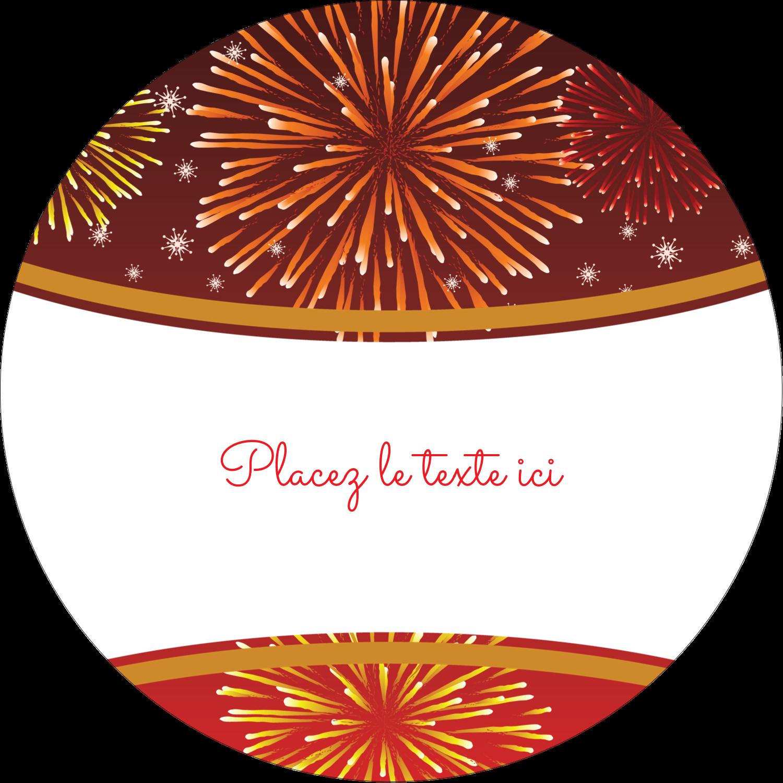 """3-7/16"""" x 15/16"""" Étiquettes de classement - Feux d'artifice rouges du Nouvel An"""