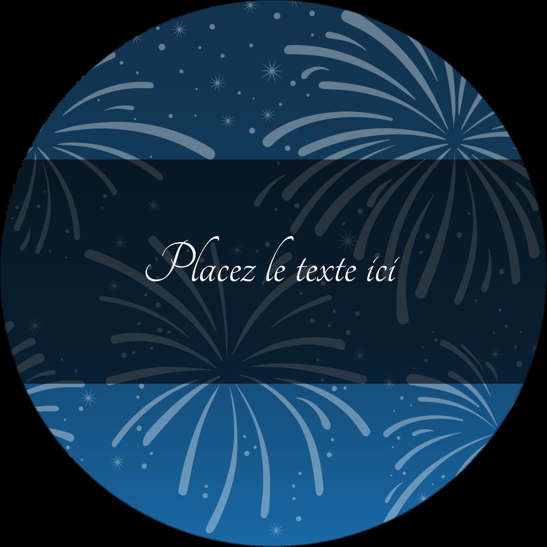 """2½"""" Diameter Étiquettes rondes - Feux d'artifice bleus du Nouvel An"""