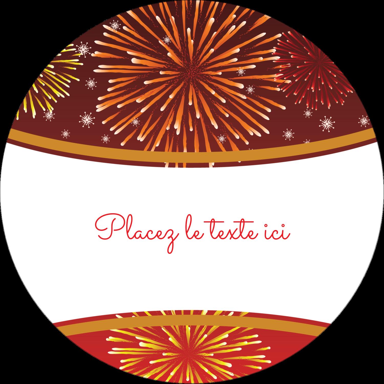 """2½"""" Diameter Étiquettes rondes - Feux d'artifice rouges du Nouvel An"""
