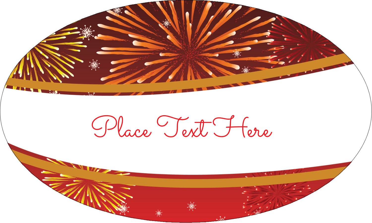 """1½"""" x 2½"""" Oval Glossy Label - New Year Red Fireworks"""