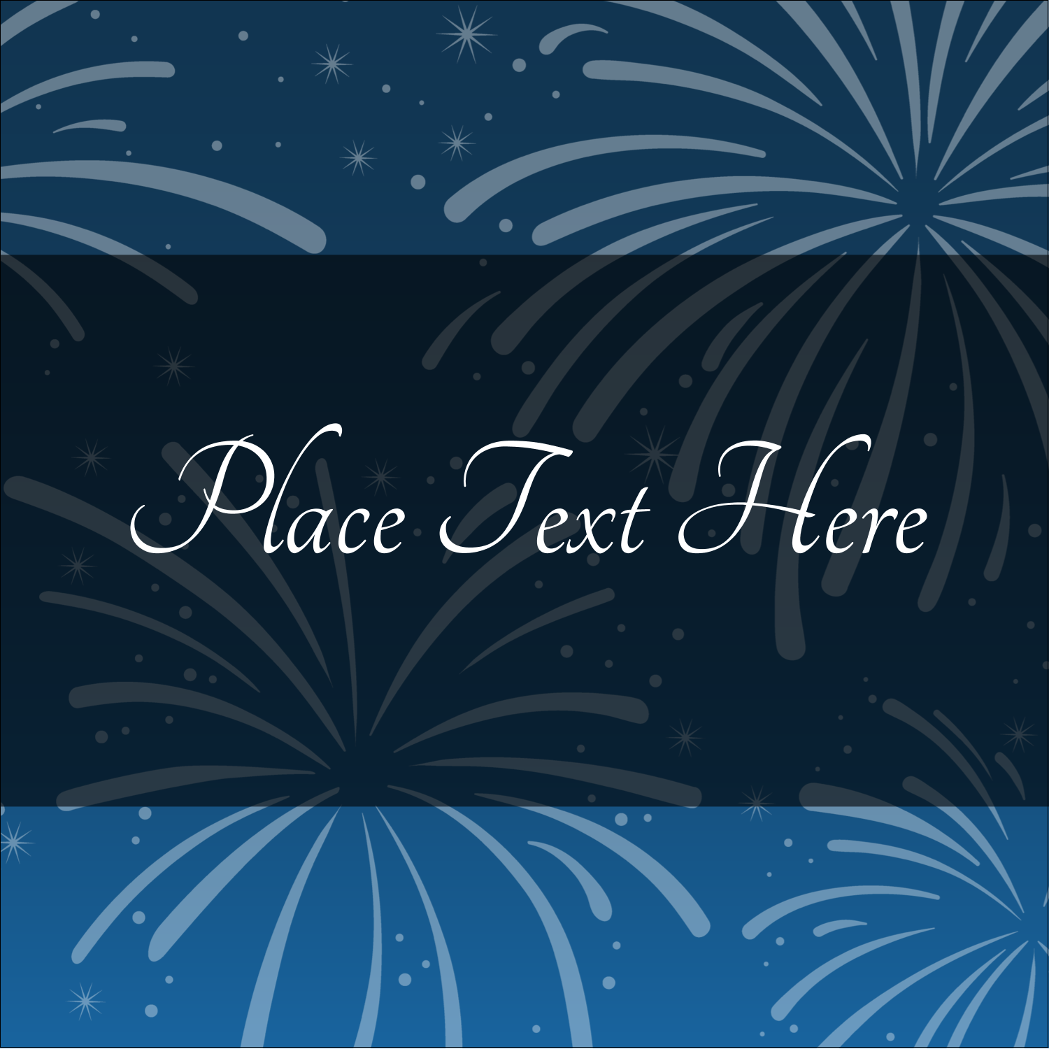 "1½"" x 1½"" Square Label - New Year Blue Fireworks"