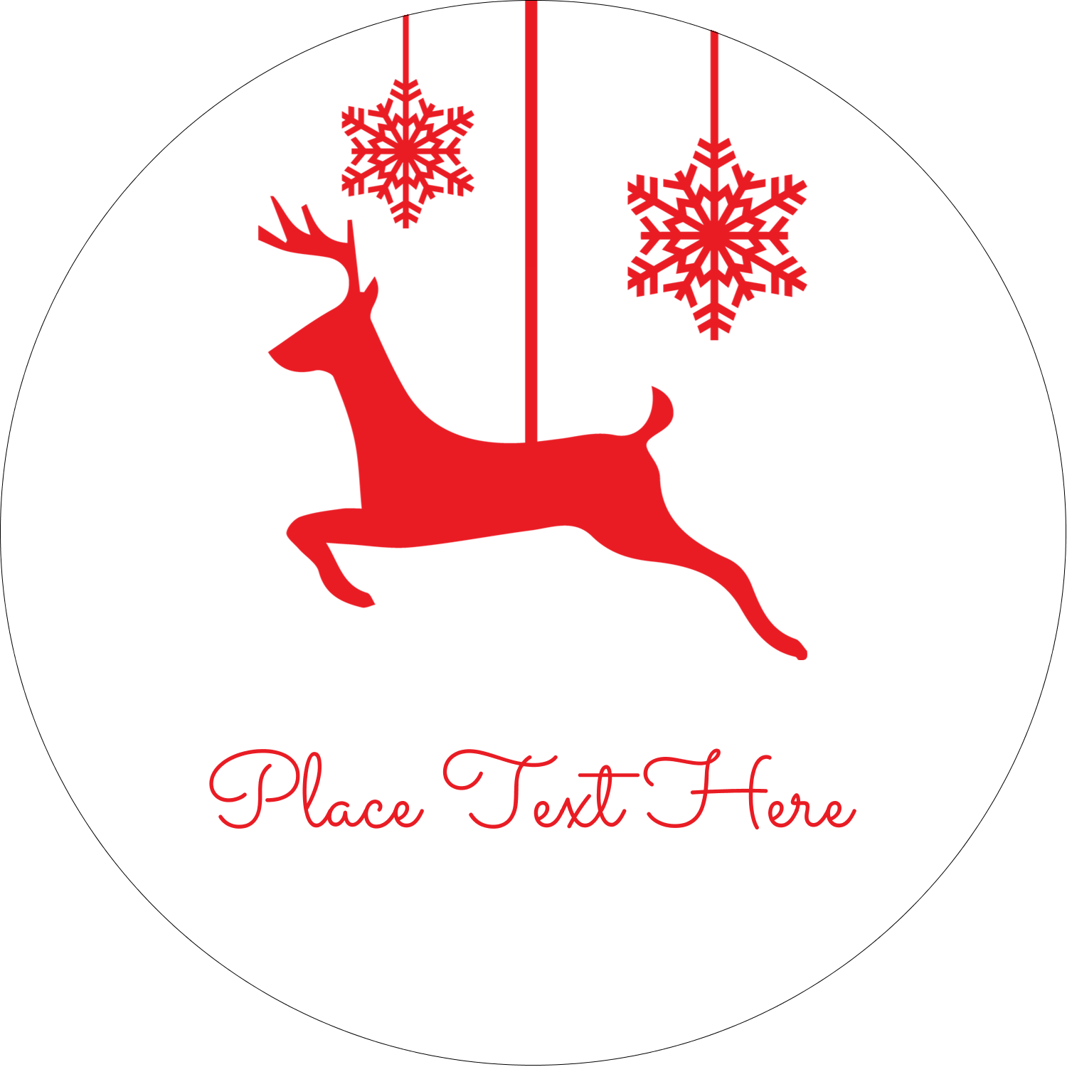 "2"" Round Label - Deer Decor"