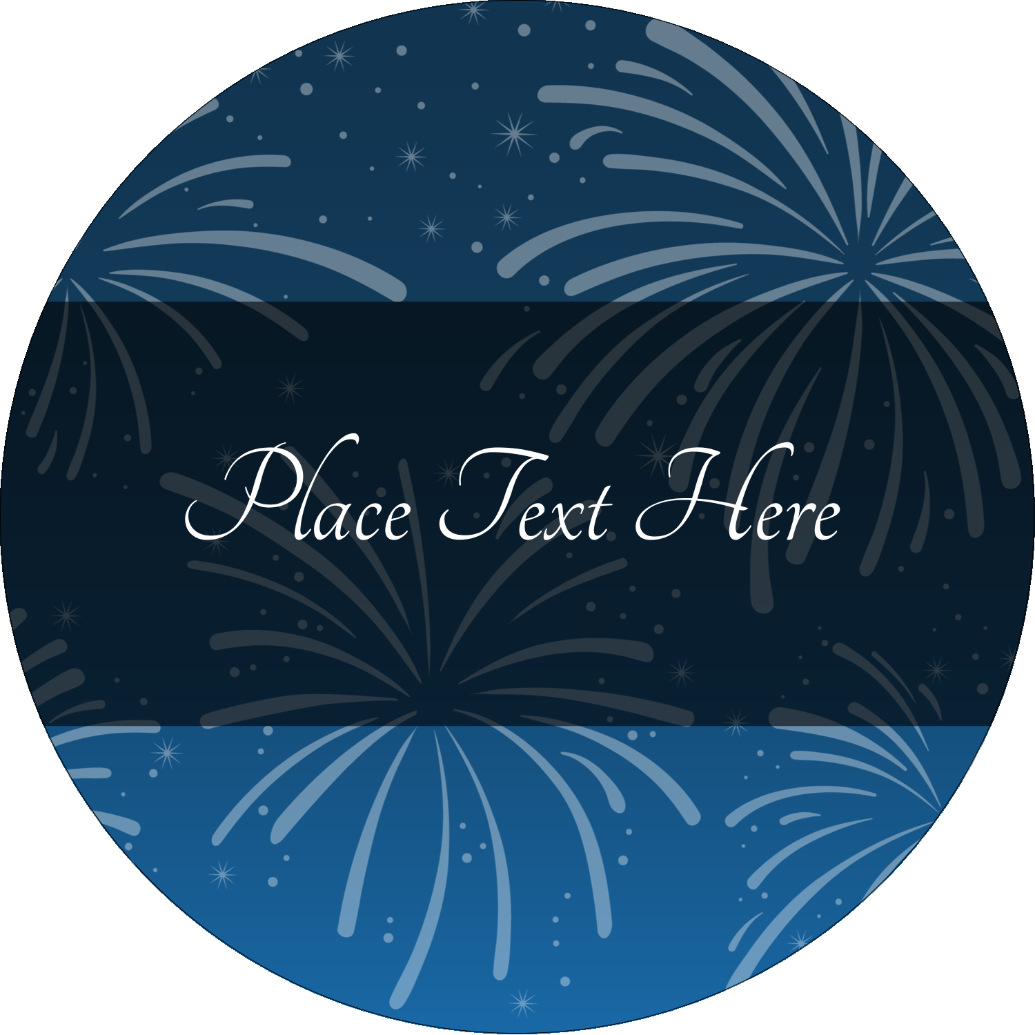 "2"" Round Label - New Year Blue Fireworks"