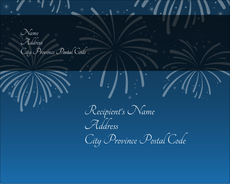 "3"" x 3¾"" Rectangular Label - New Year Blue Fireworks"