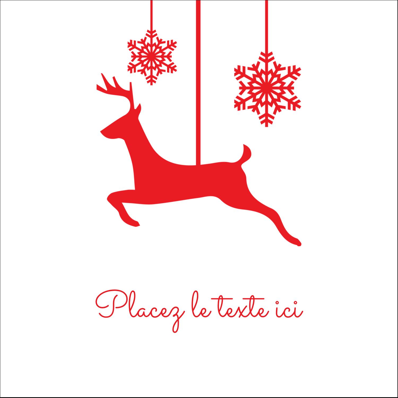 """1½"""" x 1½"""" Étiquettes carrées - Décor de renne"""