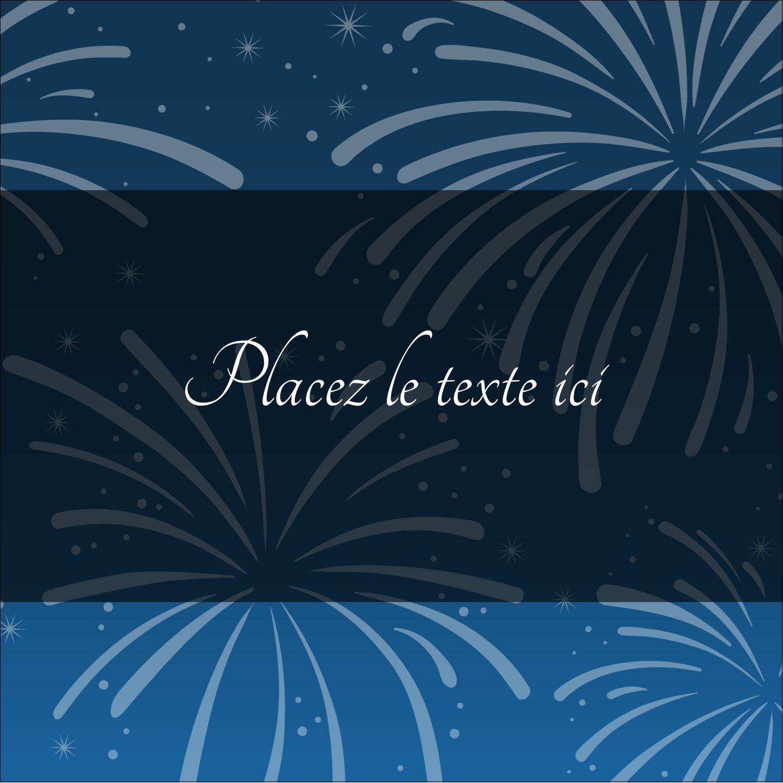 """2"""" x 2"""" Étiquettes carrées - Feux d'artifice bleus du Nouvel An"""