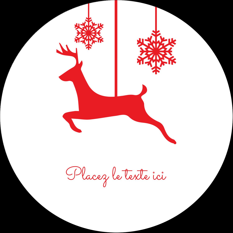 """2½"""" Diameter Étiquettes rondes - Décor de renne"""