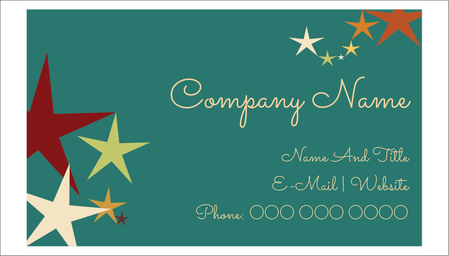 "2"" x 3½"" Business Card - New Year Stars"