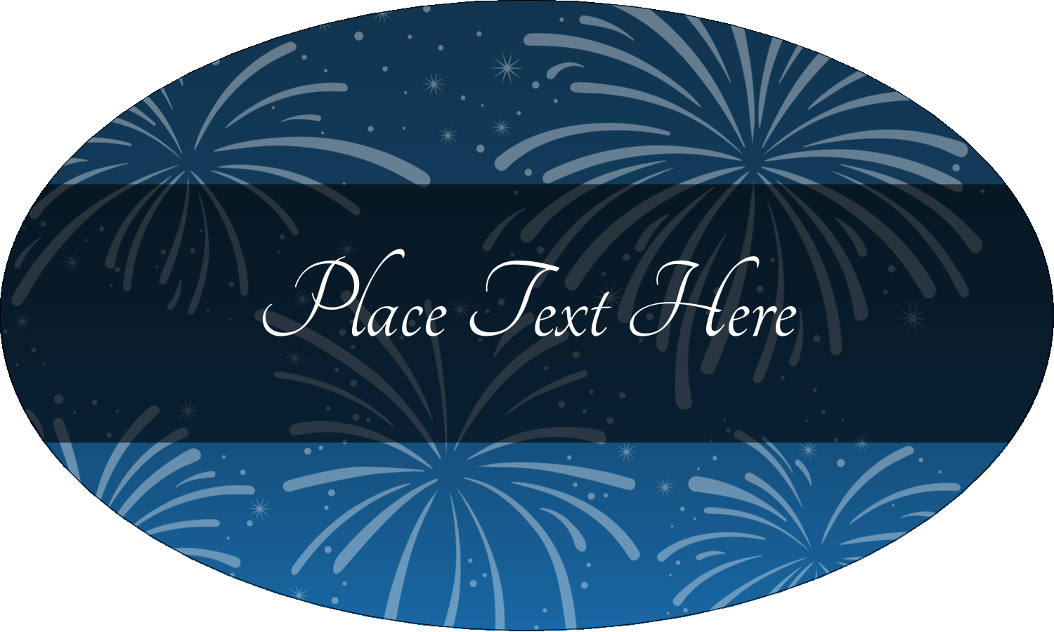 "1½"" x 2½"" Oval Glossy Label - New Year Blue Fireworks"