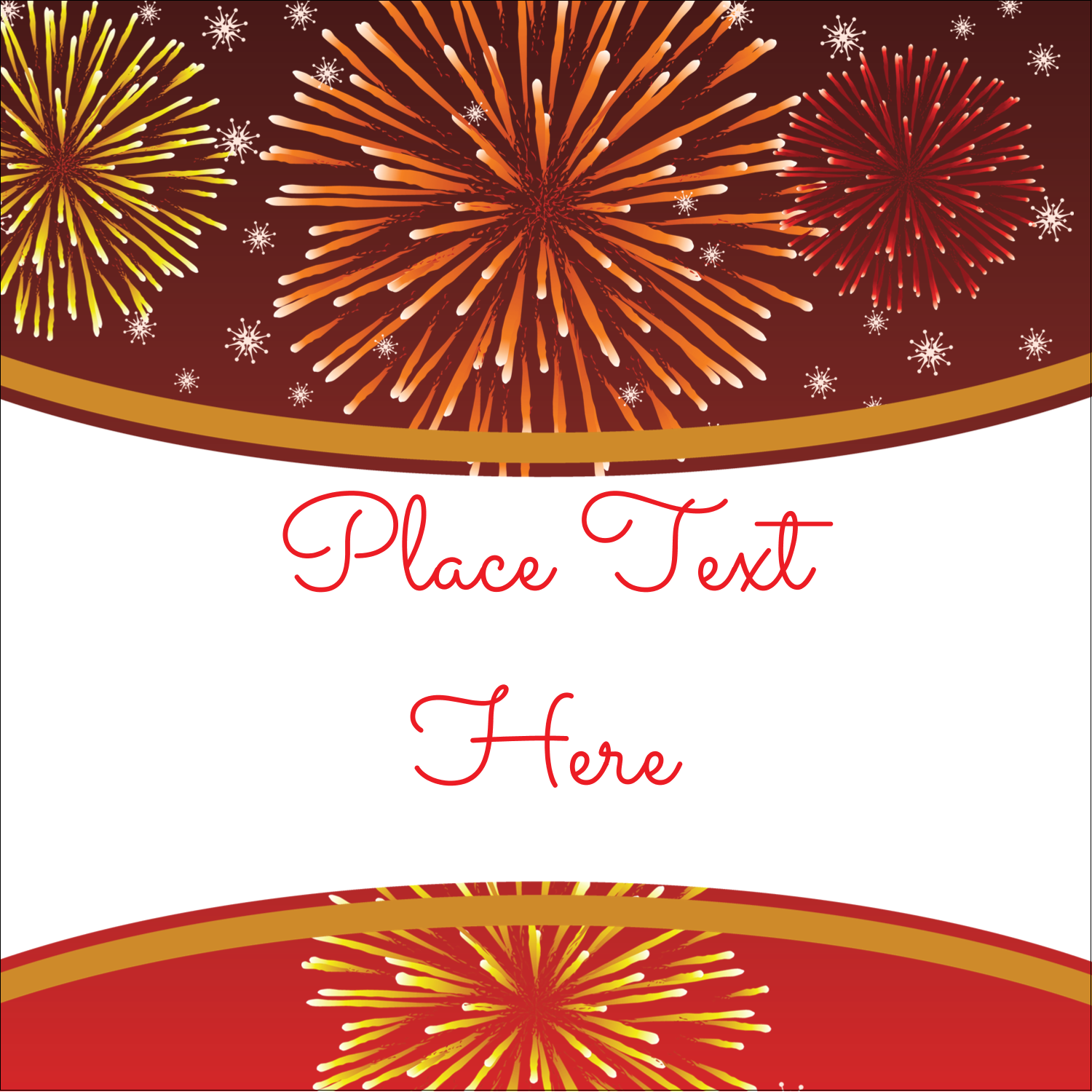 1 x 1 square label new year red fireworks