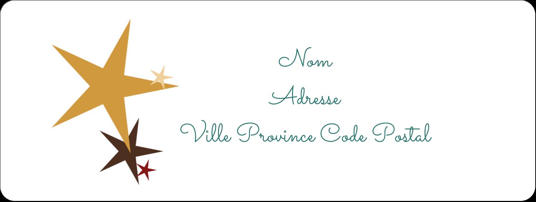 """1½"""" x 4"""" Étiquettes D'Adresse - Étoiles du Nouvel An"""