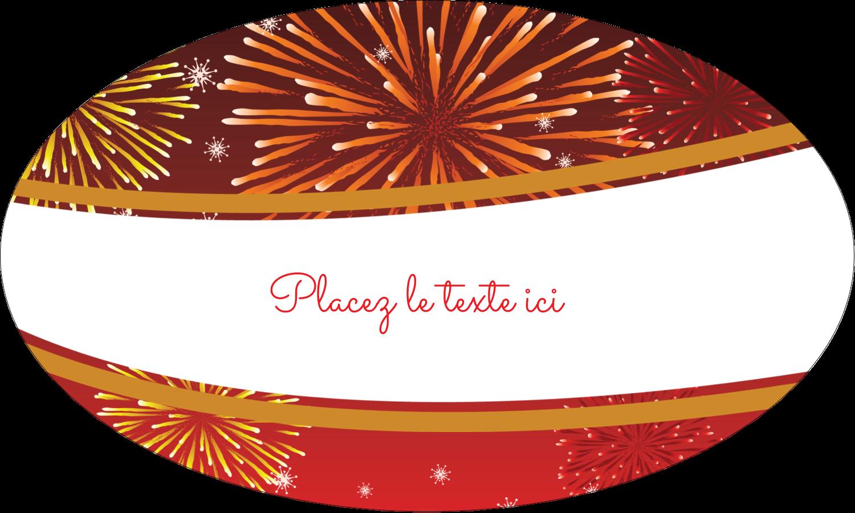 """1½"""" x 1½"""" Étiquettes carrées - Feux d'artifice rouges du Nouvel An"""