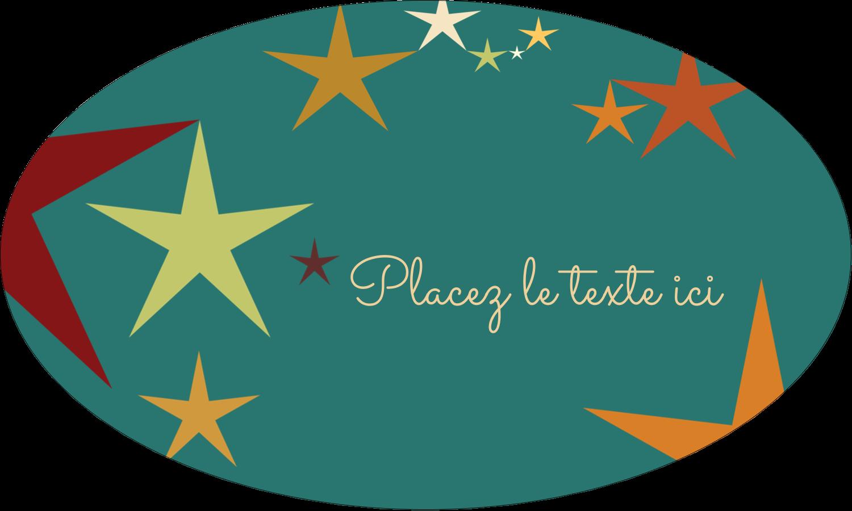 """1½"""" x 1½"""" Étiquettes carrées - Étoiles du Nouvel An"""