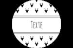 Motif de renne noir et blanc  Étiquettes arrondies - gabarit prédéfini. <br/>Utilisez notre logiciel Avery Design & Print Online pour personnaliser facilement la conception.