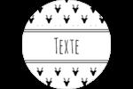 Motif de renne noir et blanc  Étiquettes rondes - gabarit prédéfini. <br/>Utilisez notre logiciel Avery Design & Print Online pour personnaliser facilement la conception.