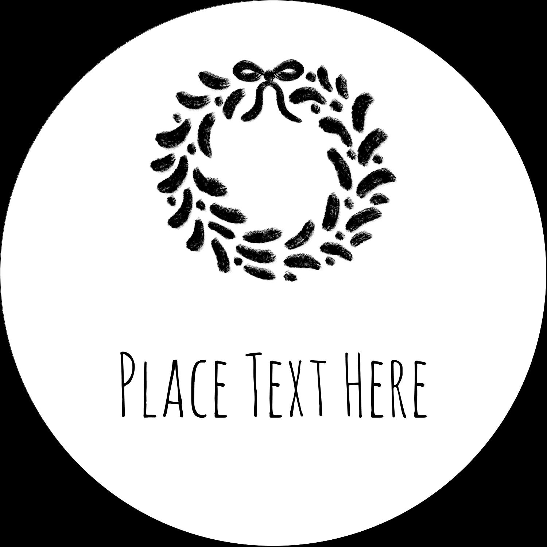 """2½"""" Round Label - Chalkboard Wreath"""