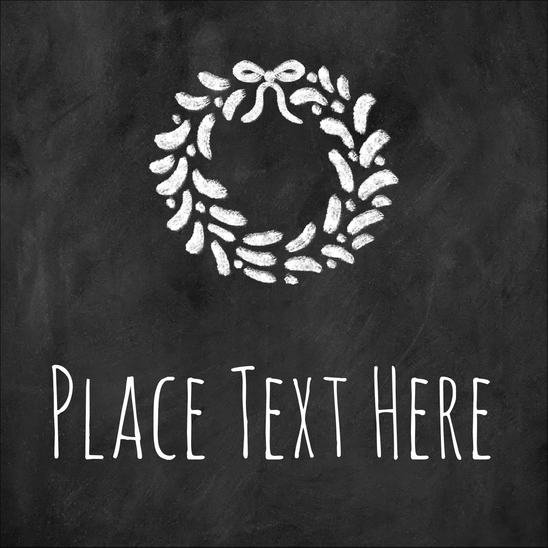 "1½"" x 1½"" Square Label - Chalkboard Wreath"