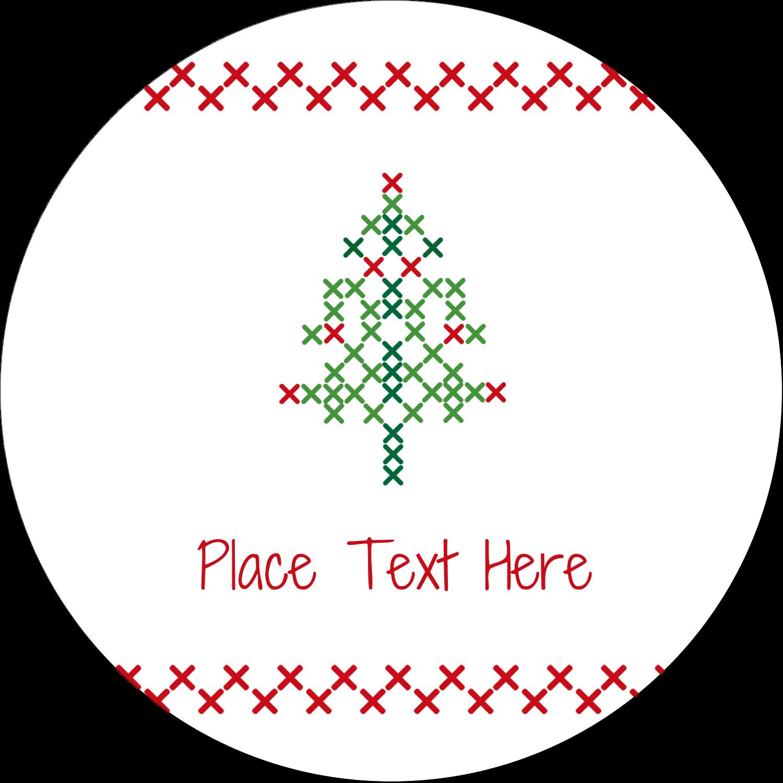 "2½"" Round Label - Cross Stitch Tree"
