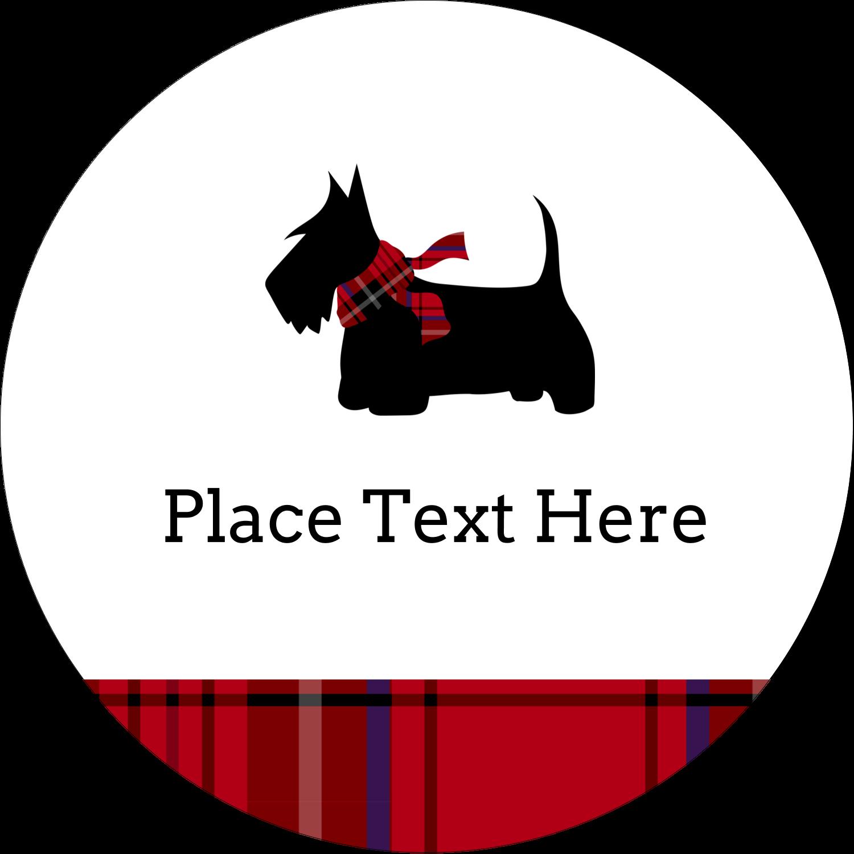 """2½"""" Round Label - Scottie Dog"""