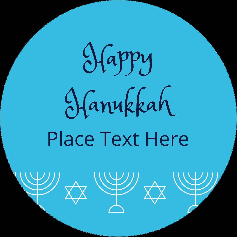 "2"" Round Label - Hanukkah Menorah"