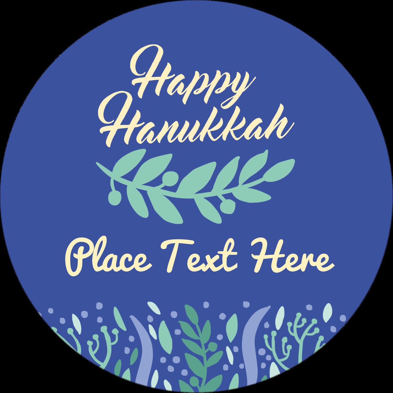 "2"" Round Label - Hanukkah Floral"