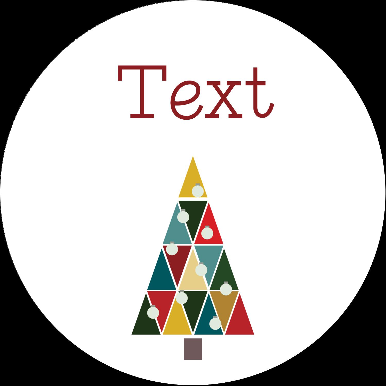 """2½"""" Diameter Round Kraft Label - Kaleidoscope Christmas Tree"""
