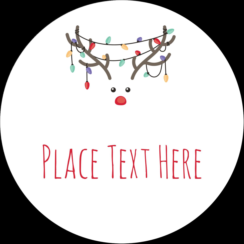 "2"" Round Label - Reindeer Antler Lights"