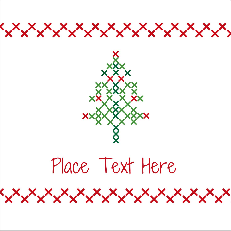 "2"" x 2"" Square Label - Cross Stitch Tree"