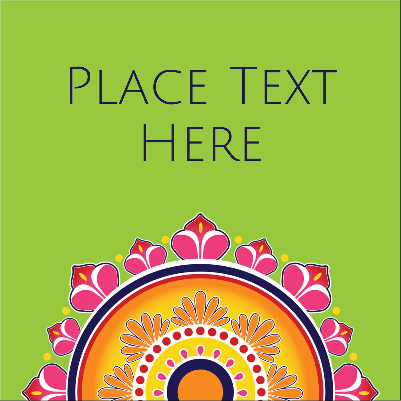"1½"" x 1½"" Square Label - Diwali Rangoli"