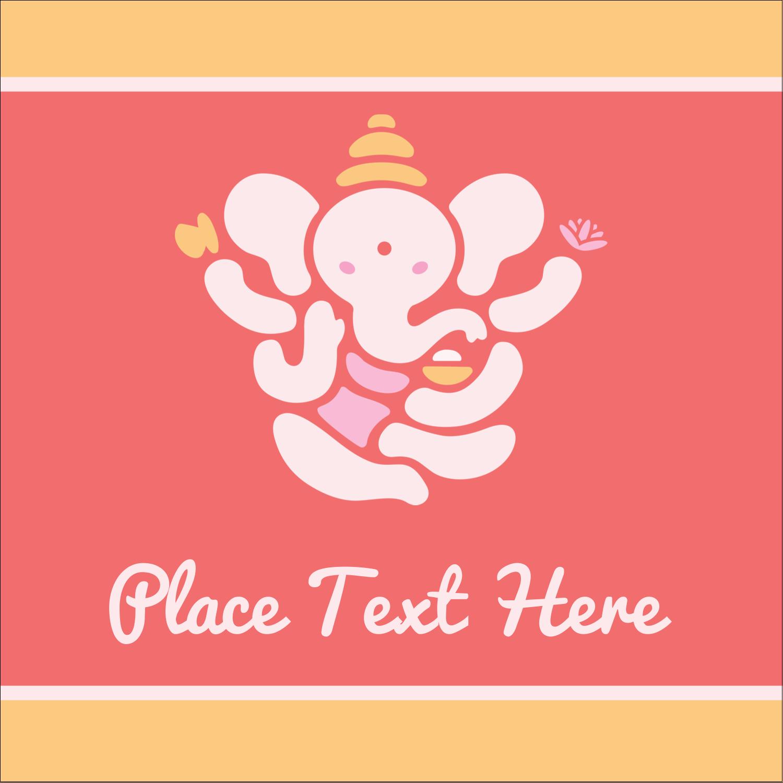 "1½"" x 1½"" Square Label - Diwali Ganesha"