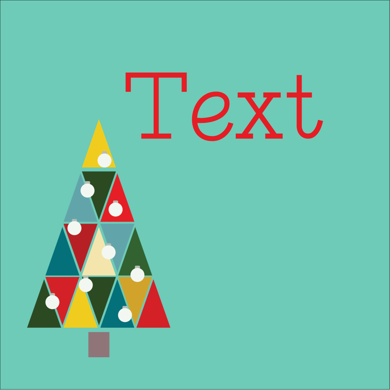 "1½"" x 1½"" Square Label - Kaleidoscope Christmas Tree"