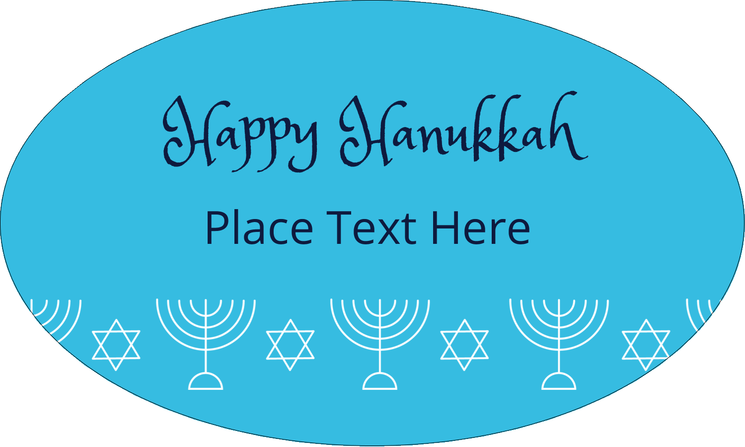 "1½"" x 2½"" Oval Glossy Label - Hanukkah Menorah"