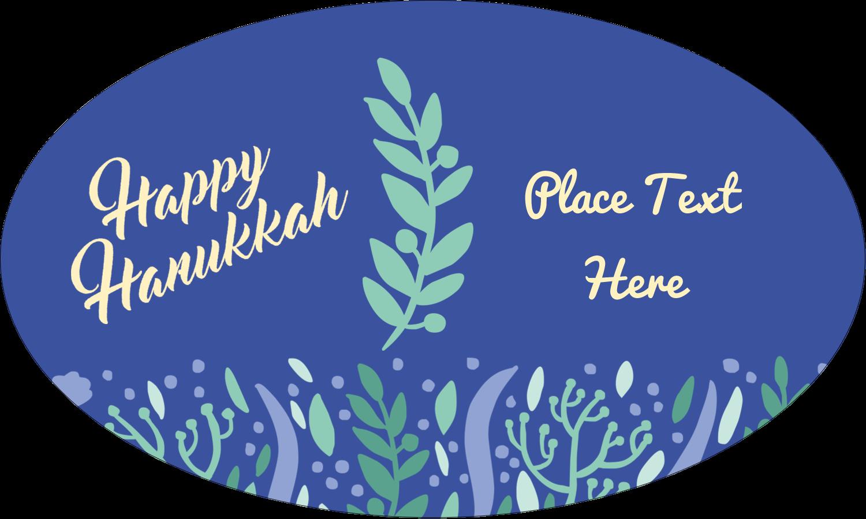 "1½"" x 2½"" Oval Glossy Label - Hanukkah Floral"