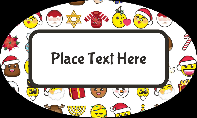 "1½"" x 2½"" Oval Glossy Label - Emoji Holiday"