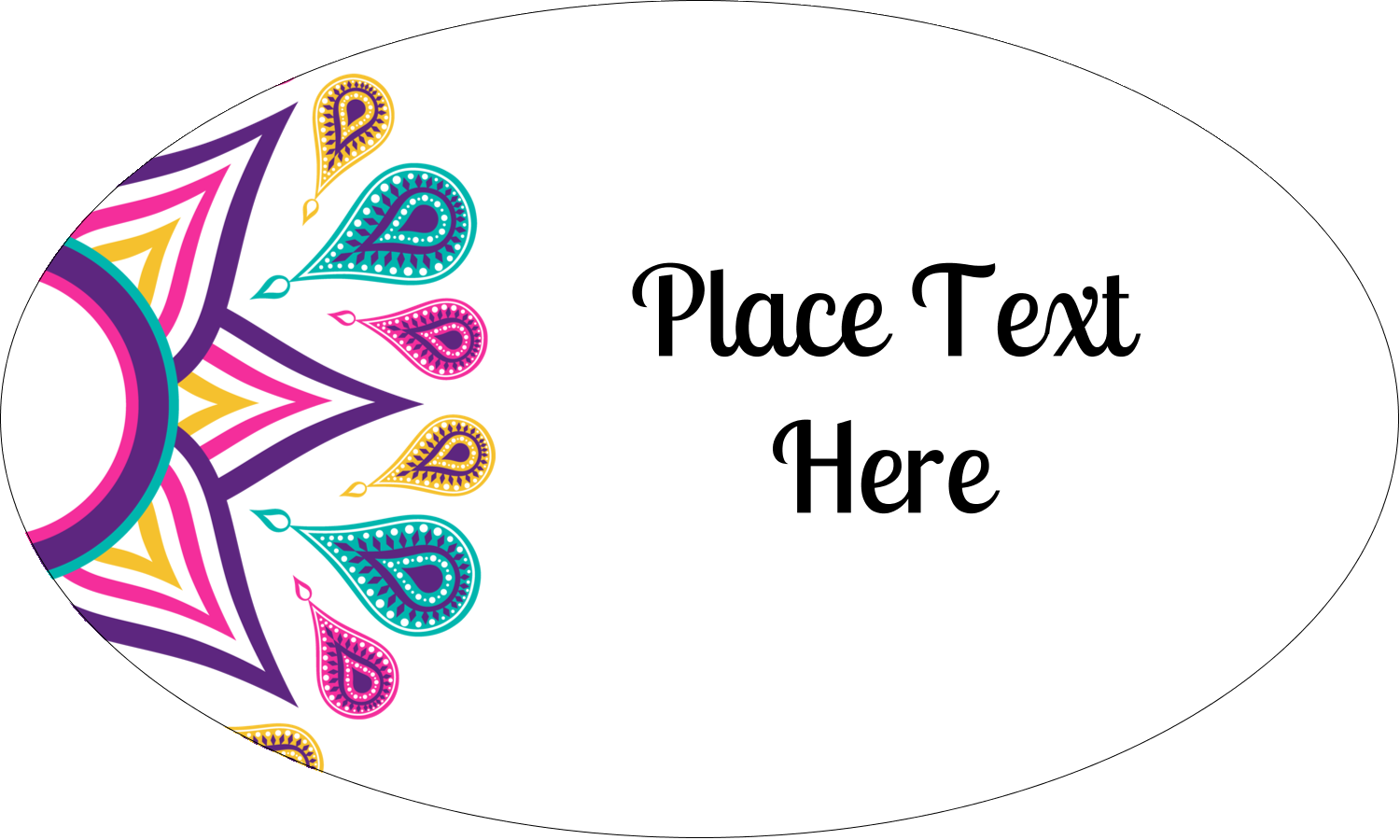 "1½"" x 2½"" Oval Glossy Label - Diwali Ribbon"
