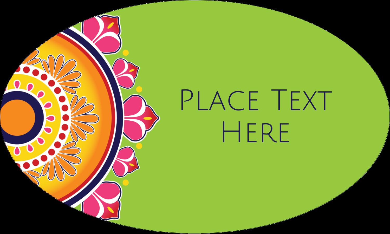 """1½"""" x 2½"""" Oval Glossy Label - Diwali Rangoli"""