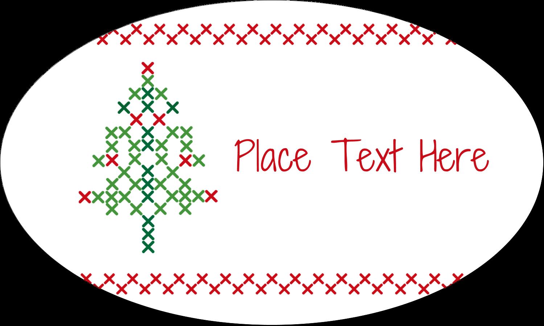 "1½"" x 2½"" Oval Glossy Label - Cross Stitch Tree"