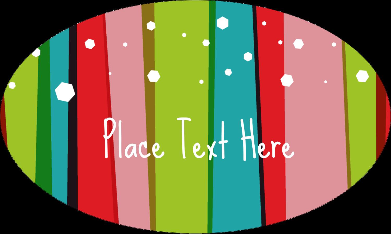 "1½"" x 2½"" Oval Glossy Label - Christmas Retro Stripe"