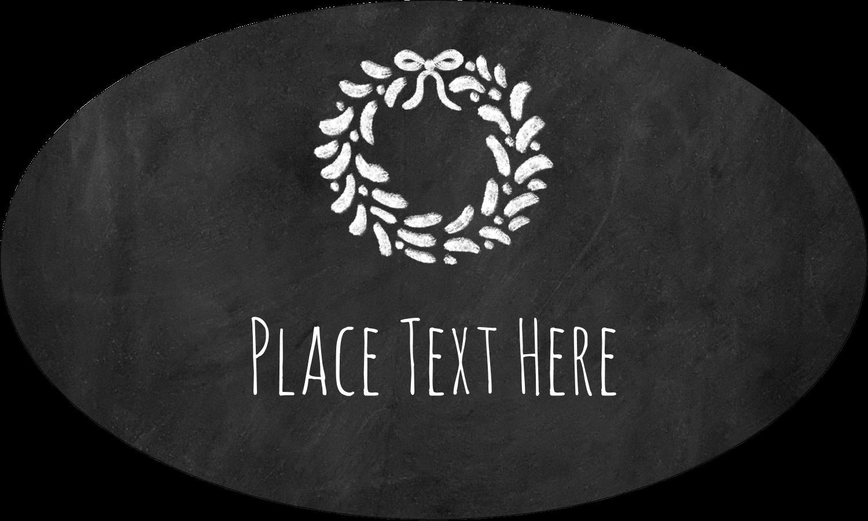 """1½"""" x 2½"""" Oval Glossy Label - Chalkboard Wreath"""