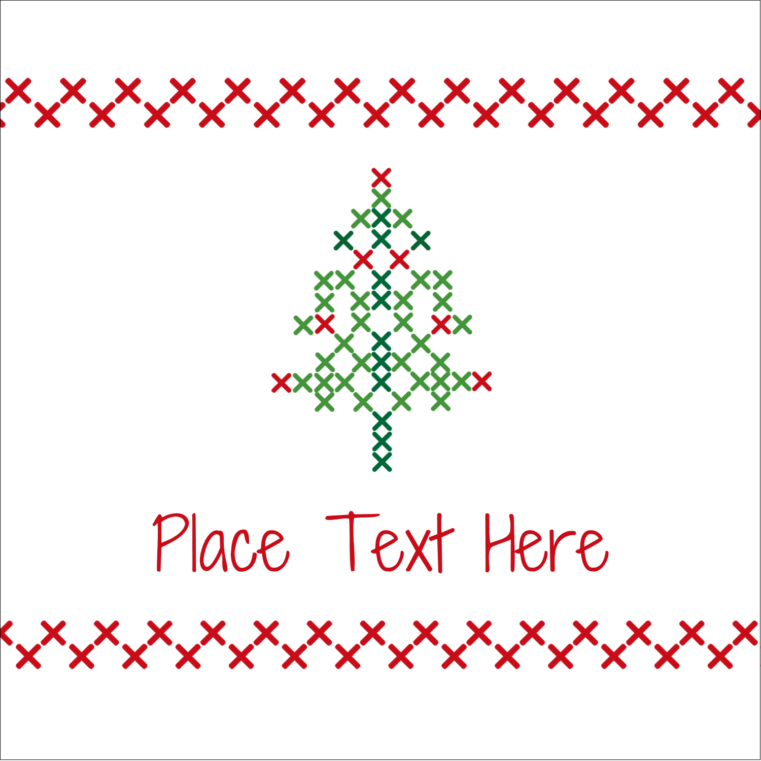 "1½"" x 1½"" Square Label - Cross Stitch Tree"