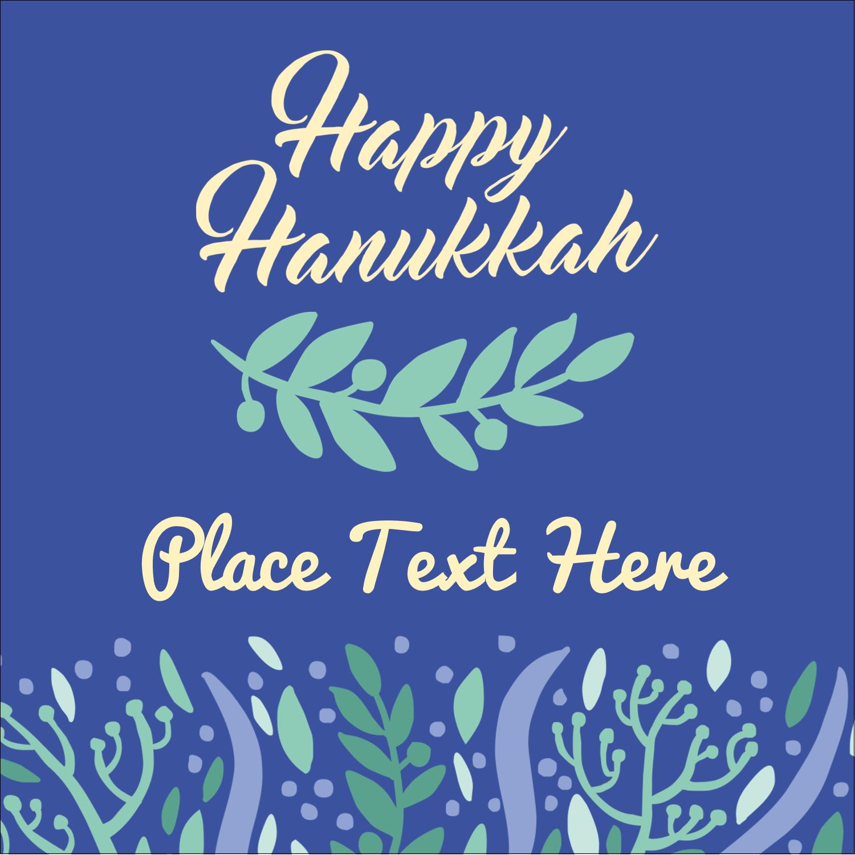 "2"" x 2"" Sqaure Label - Hanukkah Floral"