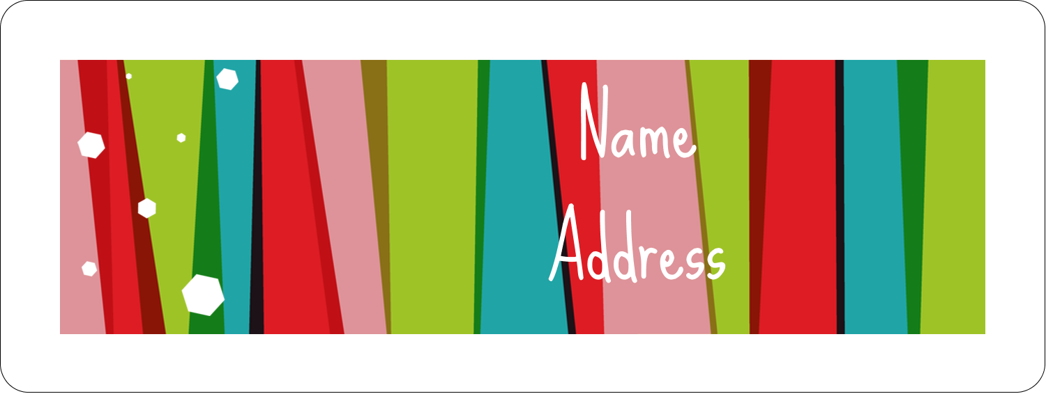 "⅔"" x 1¾"" Address Label - Christmas Retro Stripe"